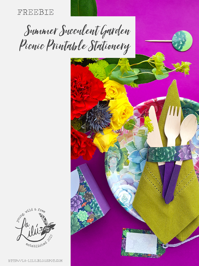 table setting, picnic, Summer, Spring, colorful flowers, succulents, tags, napking rings, food envelope, garden tea party