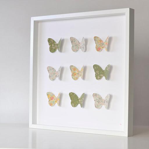 Grand cadre papillons Vert et jaune Mille Coquelicots