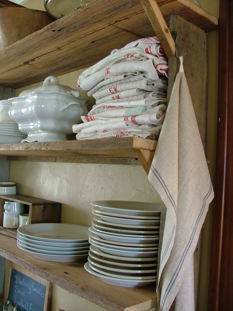 barnwood kitchen shelving...