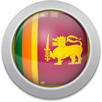 Sri Lankan flag icon with a silver frame