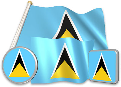 Saint Lucian flag animated gif collection