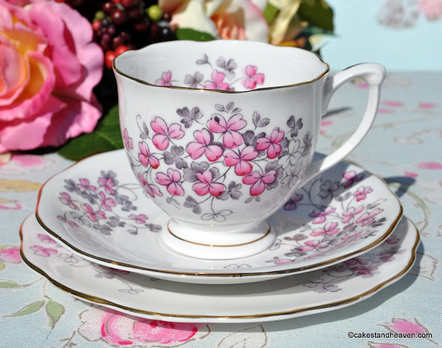 Queen Anne Pink Clover Vintage Teacup Trio