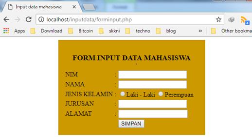 form input mahasiswa