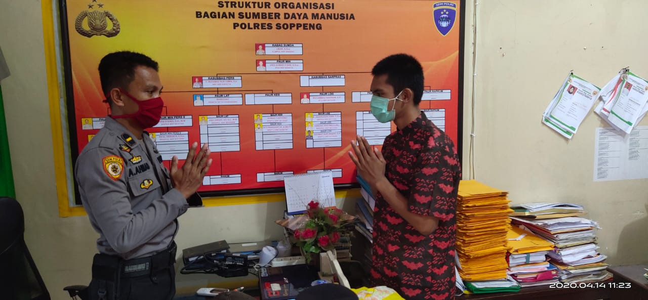 Pandemi Covid 19 Tidak Menghalangi, Bag Sumda Polres Soppeng Sosialisasikan Penerimaan Polri TA. 2020