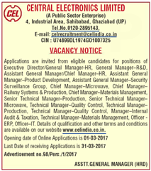 CEL India Vacancy 2017 Advertisement www.indgovtjobs.in