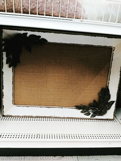 Old style picture frame with burlap backing