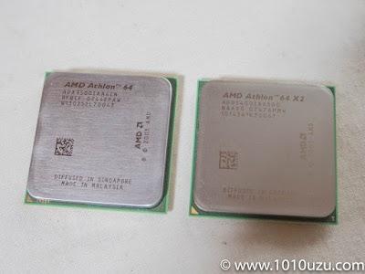 左:交換前AMD Athlon 64 3500+、右:交換後AMD Athlon 64 X2 5400+