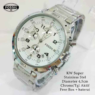 jam tangan Fossil crono stop watch silver Solid