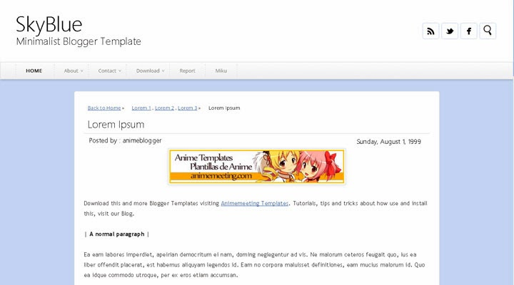 SkyBlue Plantilla Anime Blogger Templates