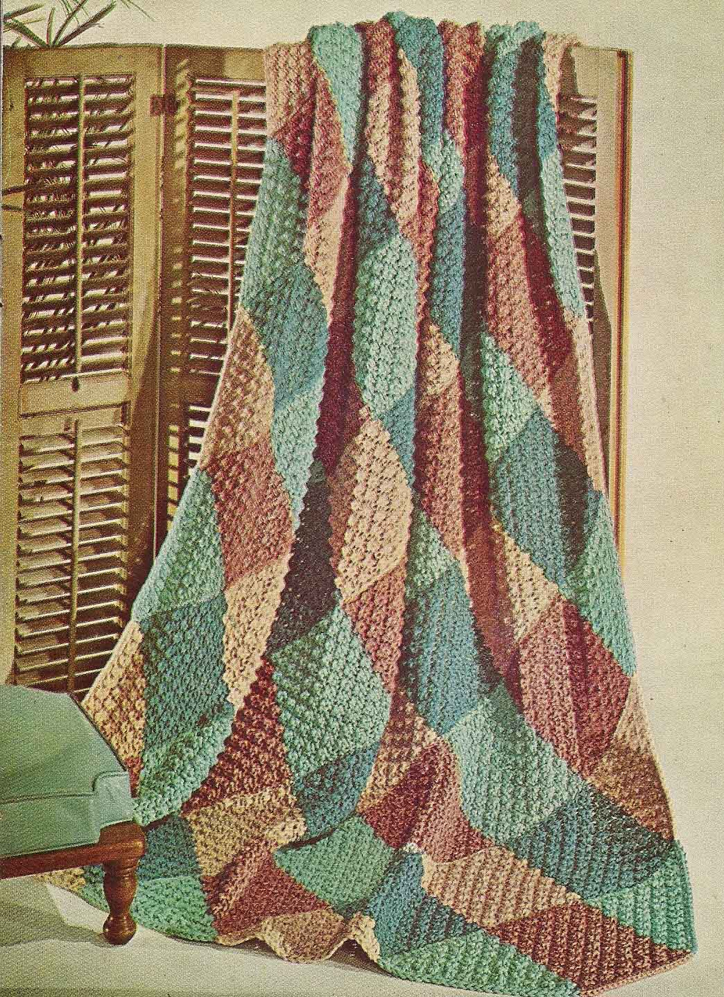 Knitted Popcorn Stitch Afghan : Vintage Knit Crochet Pattern Shop: Sweaters Afghans Knitting Crochet Patterns...