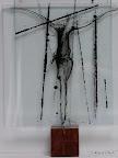 """Mensch"", Glas, Schwarzlot, Holz, 2005/09"