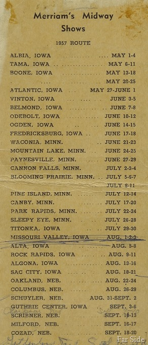1957 Route Card