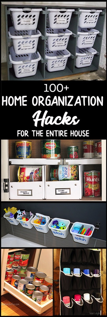 100 Home Organization hacks for every room in the house. Garages, bathrooms, kitchens, laundry room, craft rooms, bedrooms and playrooms. Great ideas to help cut the clutter
