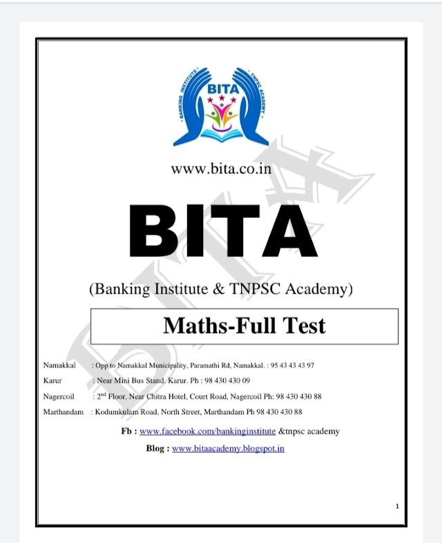 TNPSC Exam - Maths - Full Test   Tnpsc Current Affairs By BITA Academy   Pdf