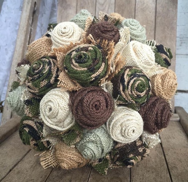 rustic, hunting themed wedding bouquet