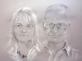 portret małżeński, węgiel i białą pastel/karton