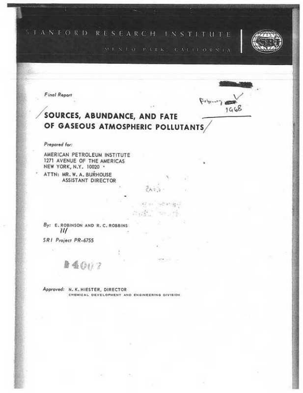 Cover page of the paper, 'Sources, Abundance, and Fate of Gaseous Atmospheric Pollutants', by E. Robinson and R. C. Robbins, published in February 1968 by Stanford Research Institute. Graphic: CIEL / smokeandfumes.org