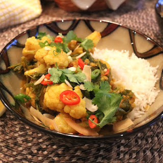 Cauliflower, Kale & Red Lentil Coconut Curry