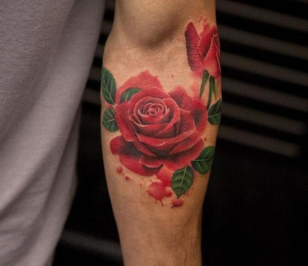 este_sangue_vermelho_aquarela_flor_da_tatuagem