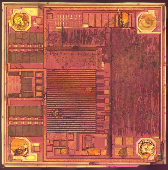 Die photo of the Impinj Monza 4 RFID chip.