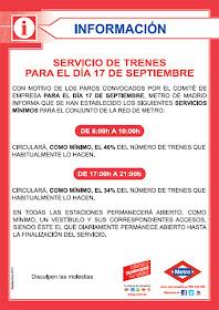 Huelga de Metro en Madrid mañana lunes 17 de septiembre