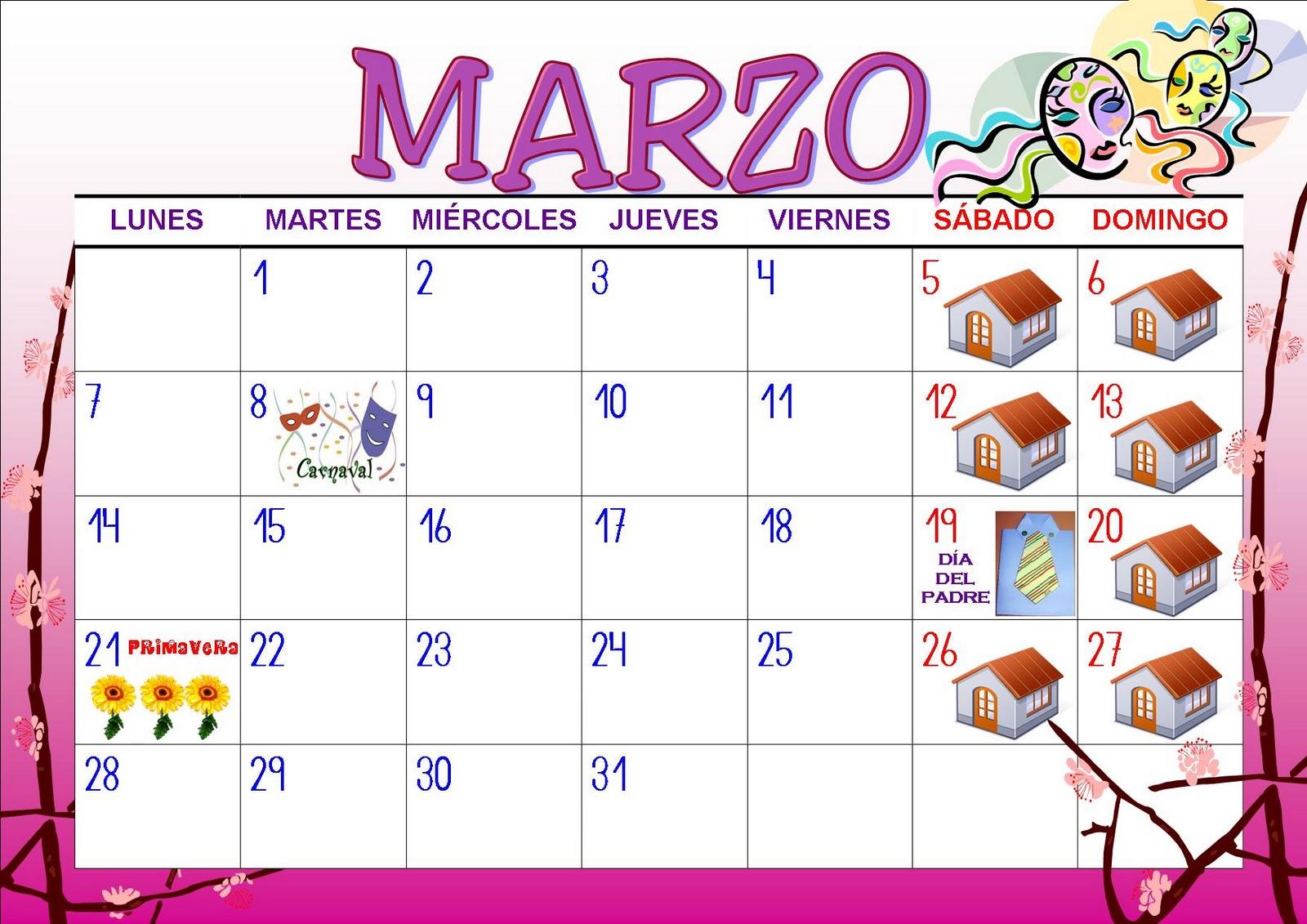 foto de Juani maestra infantil: Calendario MARZO