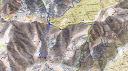 Carte de la région Sud de Popolasca et Nord de la vallée du Golu avec la crête de Bocca Fuatella et les ruisseaux de Meriu et Ancinu : en bleu le parcours A/R depuis Santa Regina et la fin de la remontée de l'Ancinu