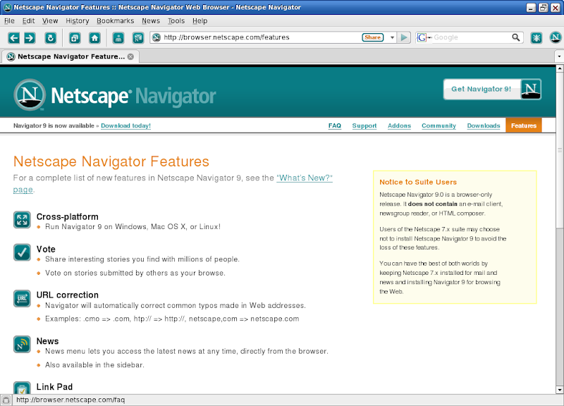 Screenshot of Netscape Navigator v.9.0.0.6 Web Browser PC Software Free Download at Alldownloads4u.Com