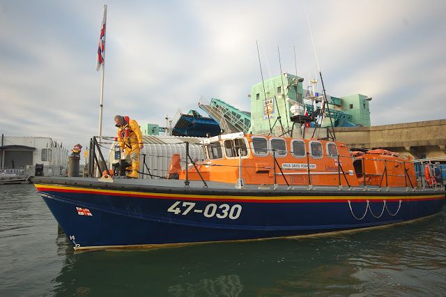 8 January 2012 Poole all-weather lifeboat leaving her berth for the first exercise of the year. Photo: Dave Riley