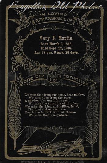 Mary martin Funeral Card Wad Flea