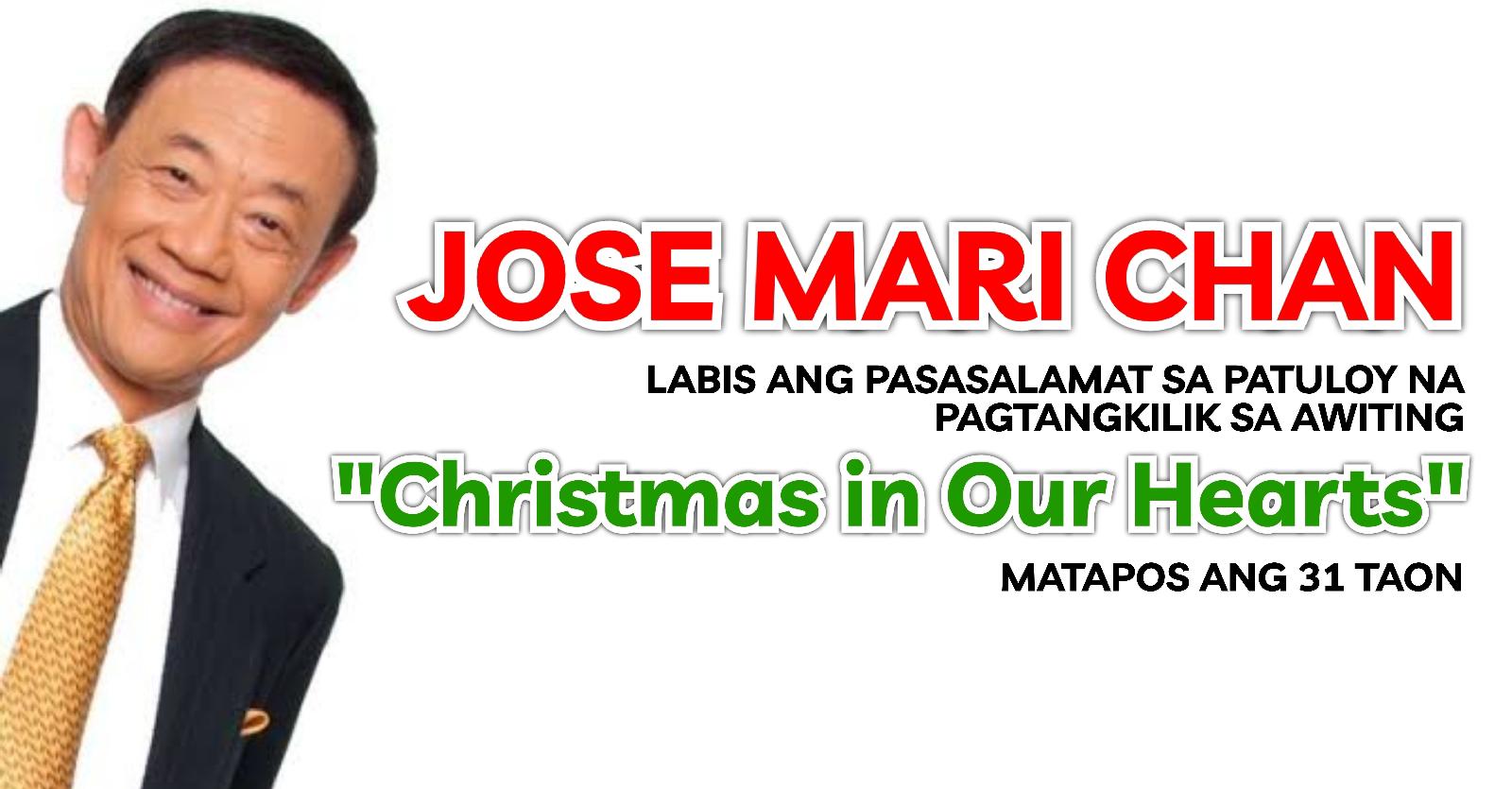 """JOSE MARI CHAN, labis ang pasasalamat sa patuloy na pagtangkilik sa awiting """"Christmas In Our Hearts"""" matapos ang 31 taon"""