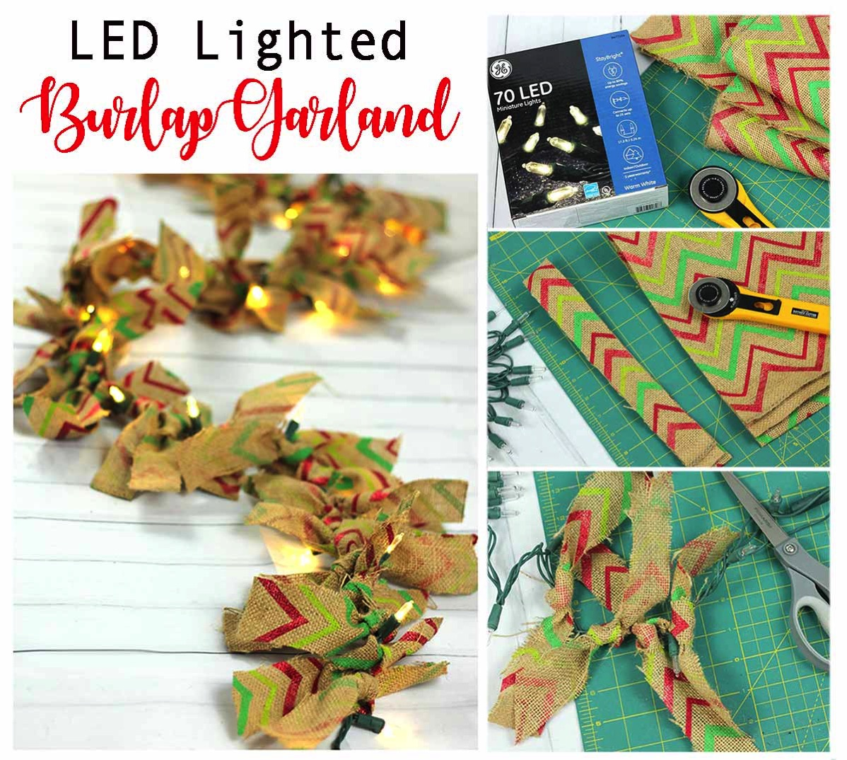 LED Christmas Lights Burlap Garland