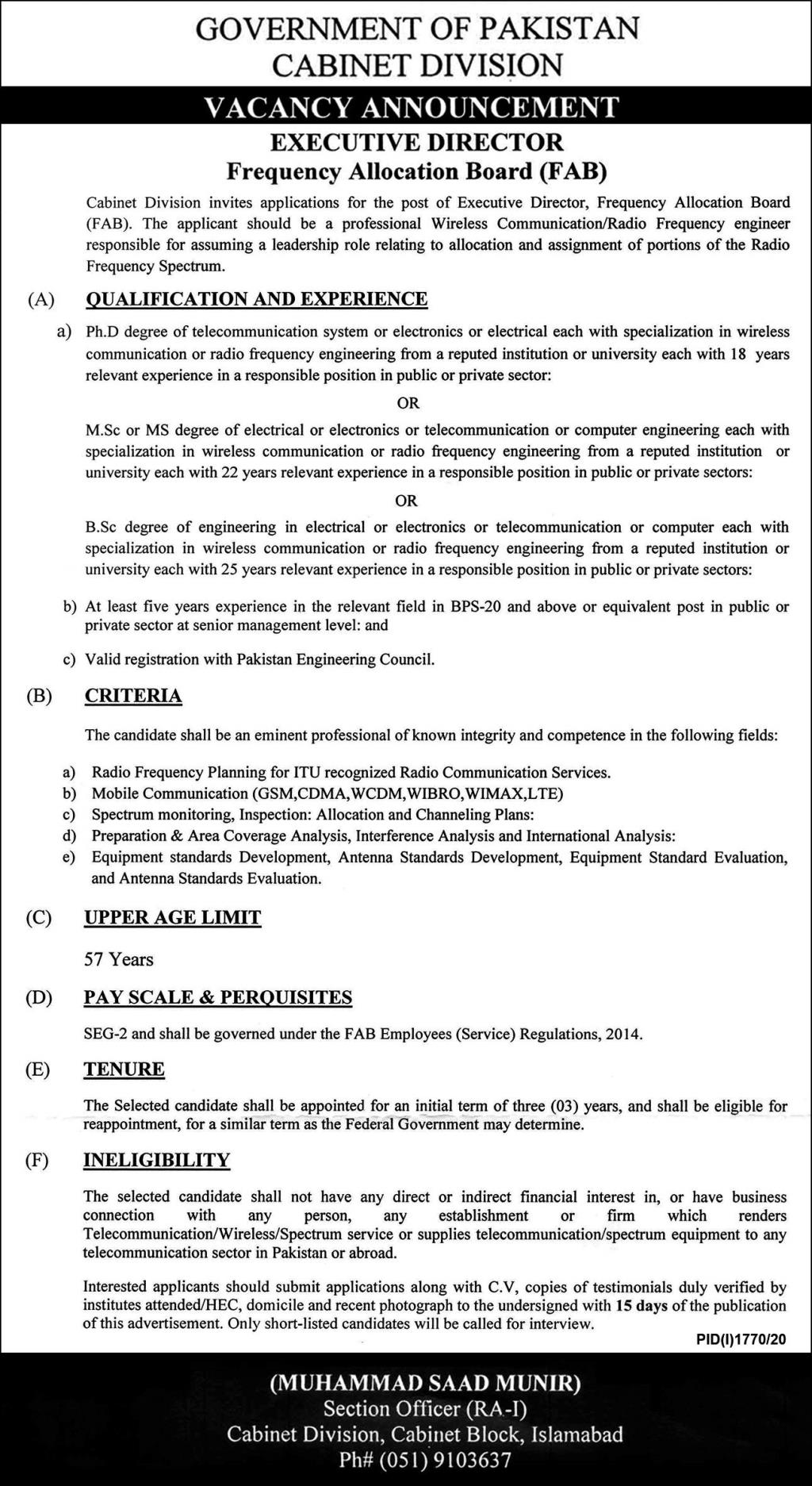 Cabinet Division Islamabad Jobs October 2020