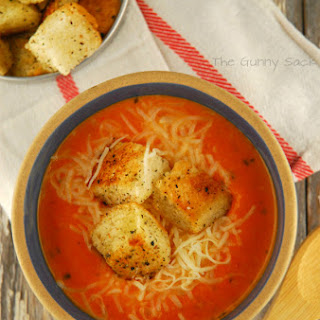 Pizza Soup with Homemade Croutons.