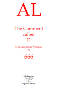 Cover of Aleister Crowley's Book AL The Comment Called D The Djeridensis Working