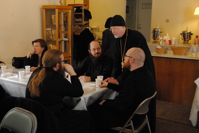 Faithful get a chance to meet the seminarians during the coffee hour.