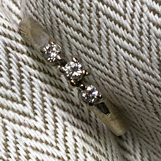 14 Kt. White Gold Triple Diamond Ring