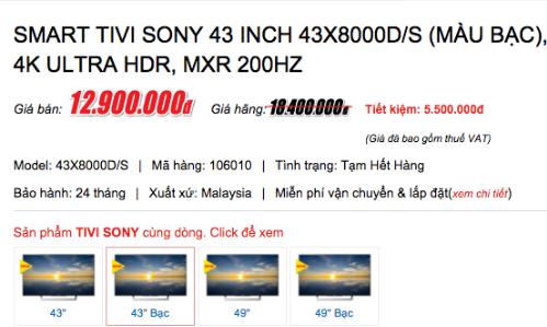 Nhiều mẫu TV của Sony đã được các siêu thị điện máy thông báo hết hàng.