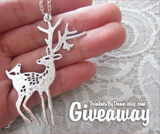 Holiday Giveaway: Elk Necklace and Leaf Print from Trinkets by Dana