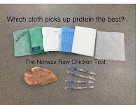 Which cleaning cloth picks up protein resiude the best? (The Norwex Raw Chicken Test)