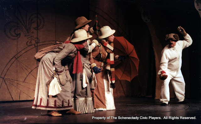 Eileen McCashion, Rita Russell, Christine Boice Saplin and Colin McCarty in ON THE VERGE - January/February 2000.  Property of The Schenectady Civic Players Theater Archive.