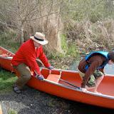 Boarding the canoe...step 1...