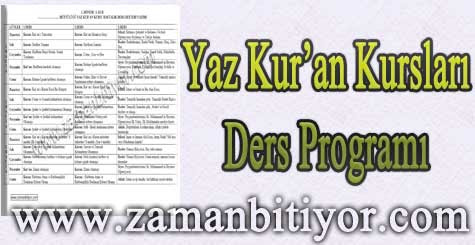 Yaz Kur'an Kursu Ders Programı İndir