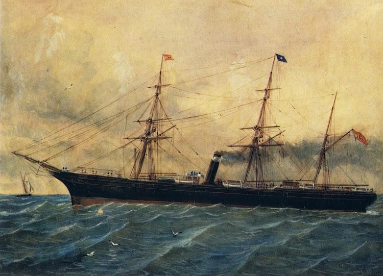 El vapor MENDEZ NUÑEZ según óleo de Rafael Monleón. Del libro HISTORIA DE LA NAVEGACION.JPG