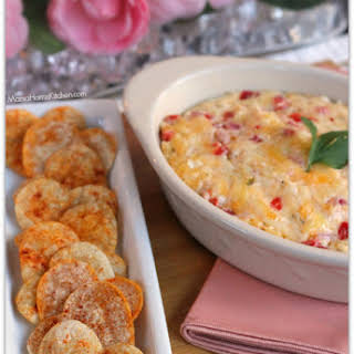 Pimento Queso Dip with Heart Shaped Tortilla Chips.