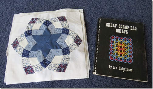 Blue and white quilt and book