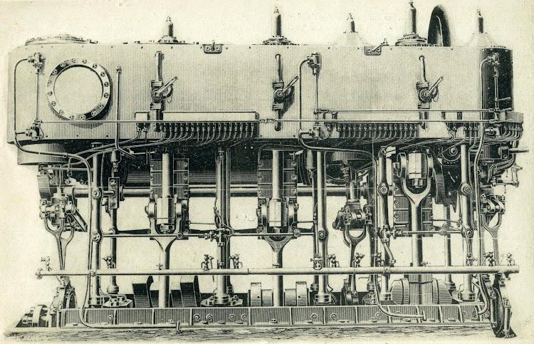 Seccion de las maquinas de los destructores TERROR y FUROR construidas en The Clydebank Engineering and Shipbuilding Co. El Mundo Naval Ilustrado. Año 1898.JPG