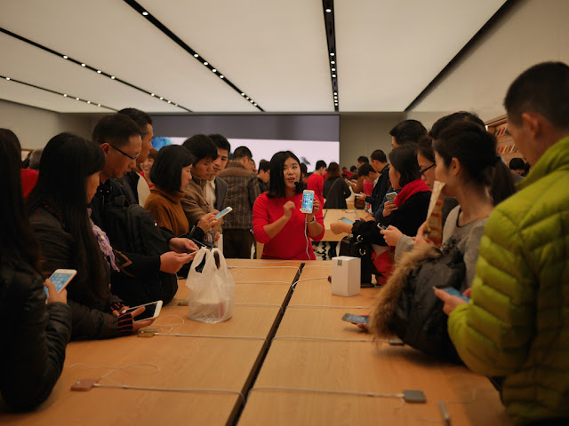 Apple employee giving a demonstration
