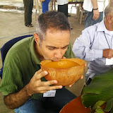 Drinking chicha, a special beverage made from the manioc plant.