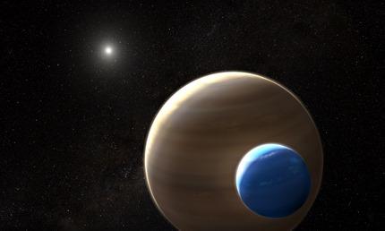 ilustração de exoplaneta com sua exolua